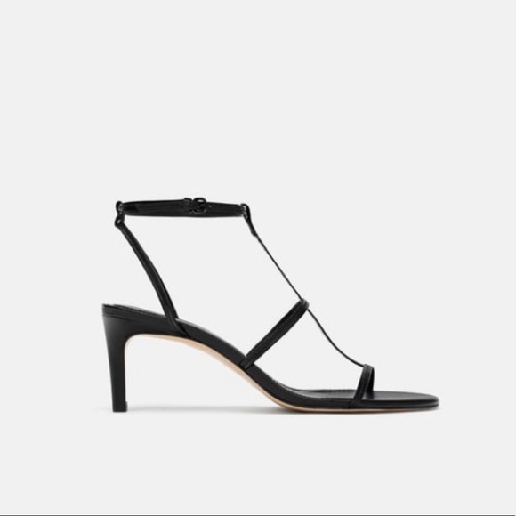 outlet boutique preview of sale usa online Zara black leather heeled strappy sandals NWT